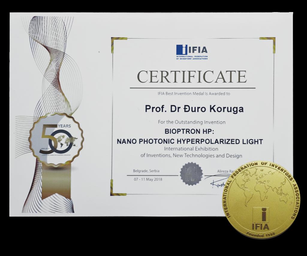 Certificate from International Federation of INventors, Geneva 2018
