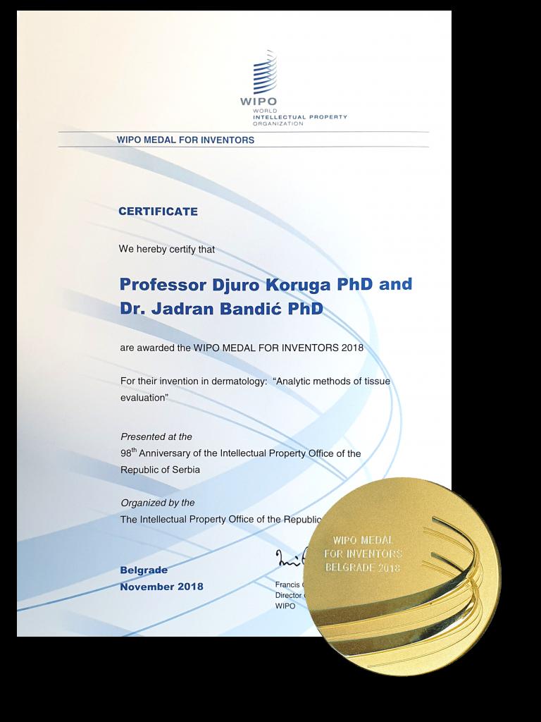 Certificate from International Federation of Intelectual Property, Belgrade 2018